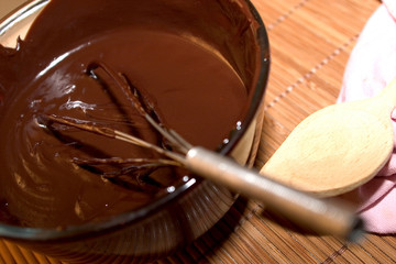 Préparation sauce chocolat