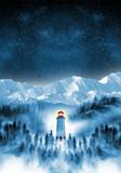 phare dans une forêt brumeuse poster