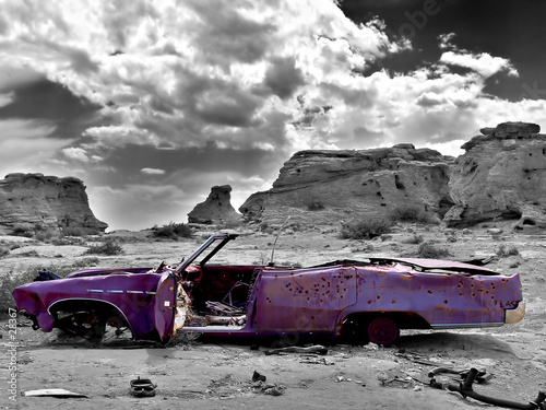 canvas print picture abandoned car