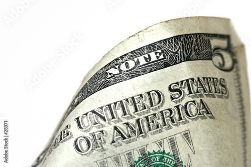 poster of five dollar bill macro, grunge look