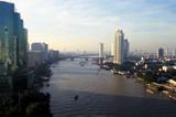 bangkok and chao praya river poster