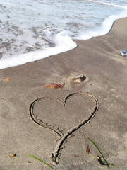 a lonely heart on the beach