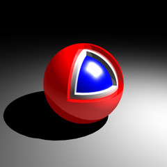 red white and blue cutaway sphere