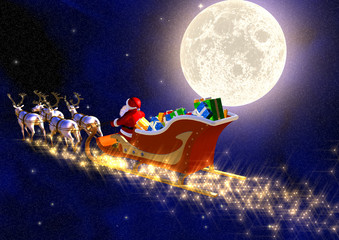 santa claus front of the moon in the space