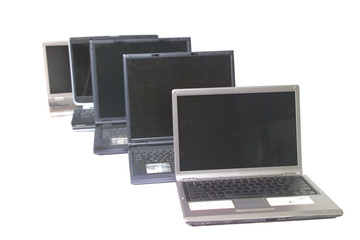 row of notebook computers