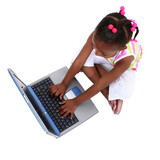 young girl working on laptop poster