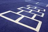 hopscotch game white on blue poster