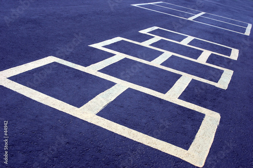 hopscotch game white on blue