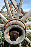 old rusting wagon wheel poster