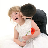 boy giving girl a kiss on cheek poster