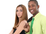 attractive young man and woman over white backgrou poster