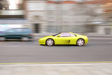 fast sportscar yellow poster
