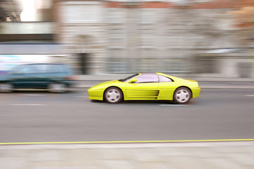 fast sportscar yellow