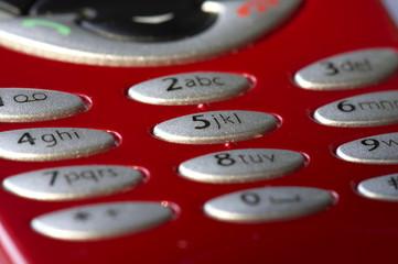 macro shot of red mobile phone