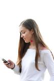 girl sending sms- white poster