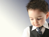 adorable toddler boy in vest and tie poster