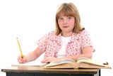 cute little school girl sitting in desk with books poster
