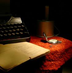 old book and rare typewriter