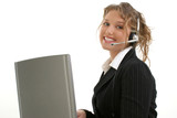 beautiful young lady with laptop computer and head poster
