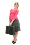 beautiful young woman with briefcase poster