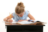 child doing school work at desk poster