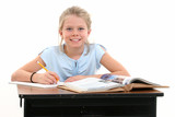 beautiful young girl sitting at school desk poster