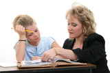 teacher helping student at desk poster