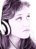 beautiful teen girl listening to headphones in gr poster