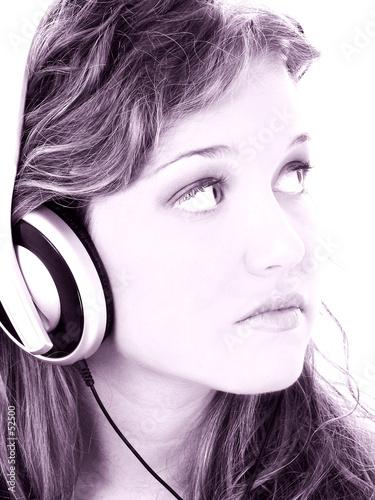 poster of  beautiful teen girl listening to headphones in gr