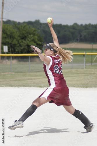 girl playing softball poster