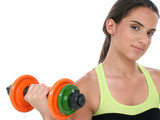 beautiful teen girl holding colorful weights poster
