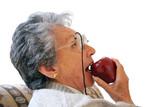 biting an apple poster