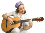 casual woman playing guitar poster