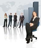 business team - colum chart poster