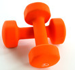 crossed orange dumbells