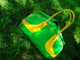 green summer bag on grass poster