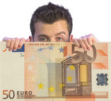 business man appearing on euro note poster