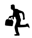 business man running - silhouette poster