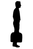business man waiting silhouette poster