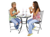 beautiful young women having lunch together poster