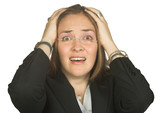 astonished business woman with hands on head poster