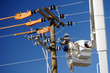 Leinwandbild Motiv electric utility lineman