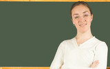beautiful female teacher wearing glasses poster