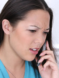 angry woman on cellphone poster
