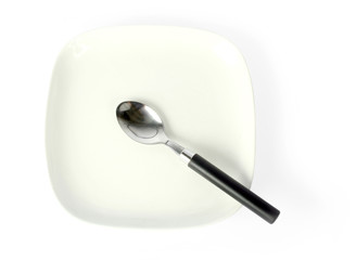 desert spoon and plate