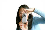 teen with camera-phone poster