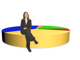 business woman on pie chart - isolated poster