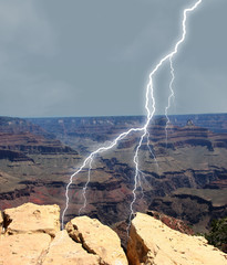 lightening on rocks