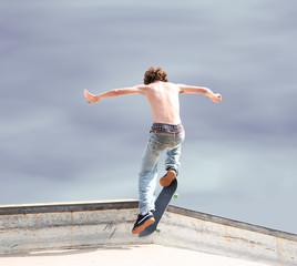 skateboarder high up