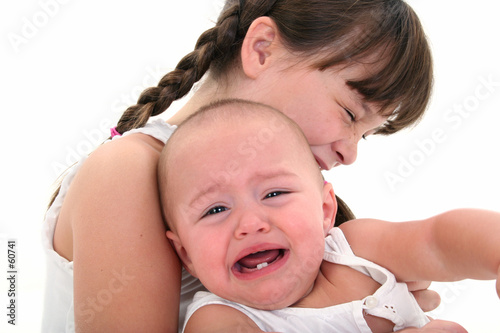 child and baby crying